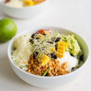 Sofritas Style Burrito Bowls with Tofu, Lime Rice and Grilled Corn