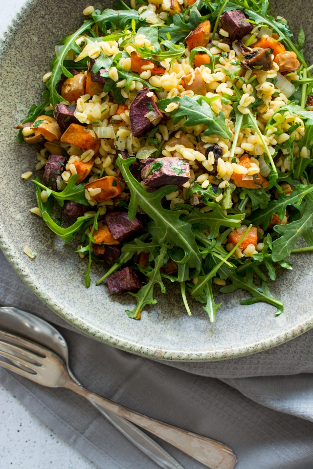 A warming, vegan Winter salad, full of healthy root vegetables and wheat berries. You won't want to miss this one!