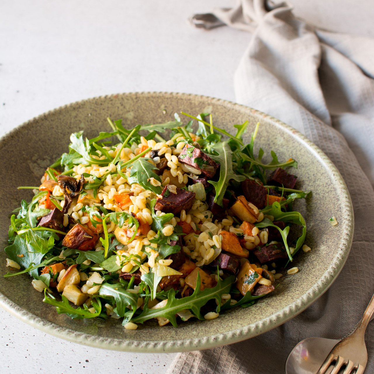 Roasted Vegetable Wheat Berry Winter Salad | Lauren Caris Cooks