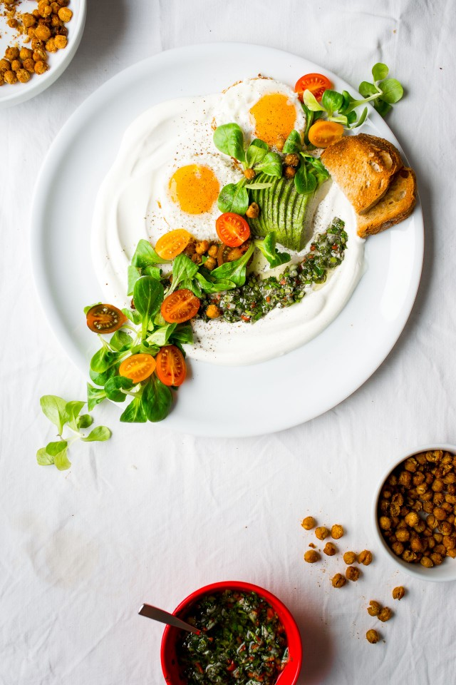 A savoury yoghurt chimmi churri salad, topped with spicy roasted chickpeas and lots of fresh goodness! If you've never tried a salad topped on yoghurt, this is the one to start with!