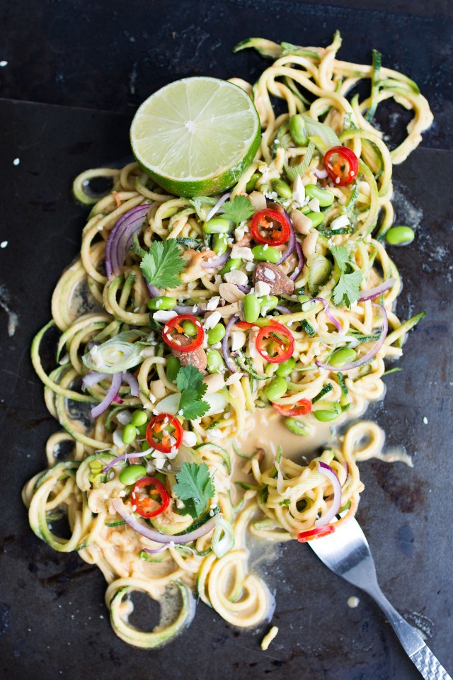 A zingy, light thai style zucchini salad with edemame beans, peanut lime dressing and loads more goodness! Totally vegan and perfect for a quick light lunch or dinner!