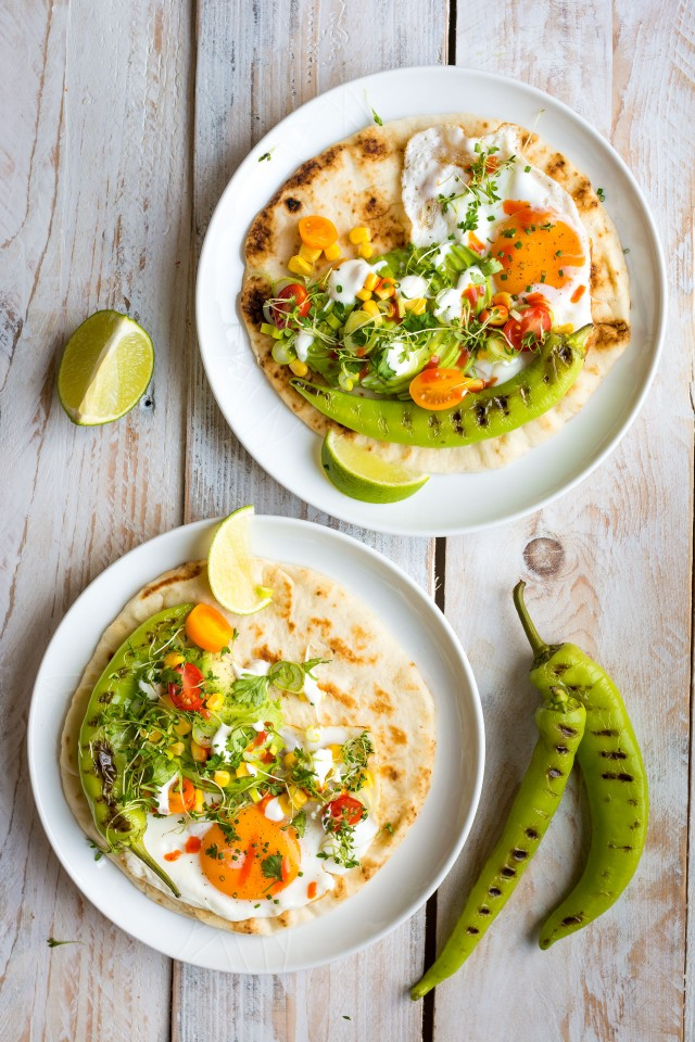 What's your go-to breakfast? These loaded breakfast naans with chargrilled peppers, avocado, sweetcorn and egg are a surprisingly satisfying combination. The soft, pillowy naan is the perfect base of all your favourite breakfast toppings!