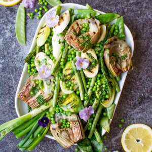Grilled Spring Greens with Homemade Lemon Parsley Butter