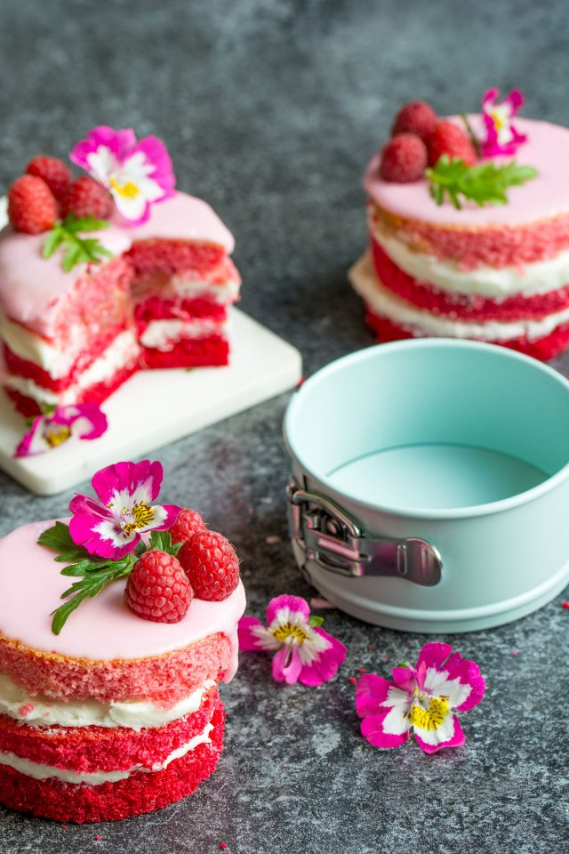 How cute are these ombre rhubarb mini cakes?! Sandwiched together with fresh rhubarb compote and creamy buttercream, you're going to love them!