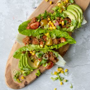 Refried Bean Lettuce Wraps
