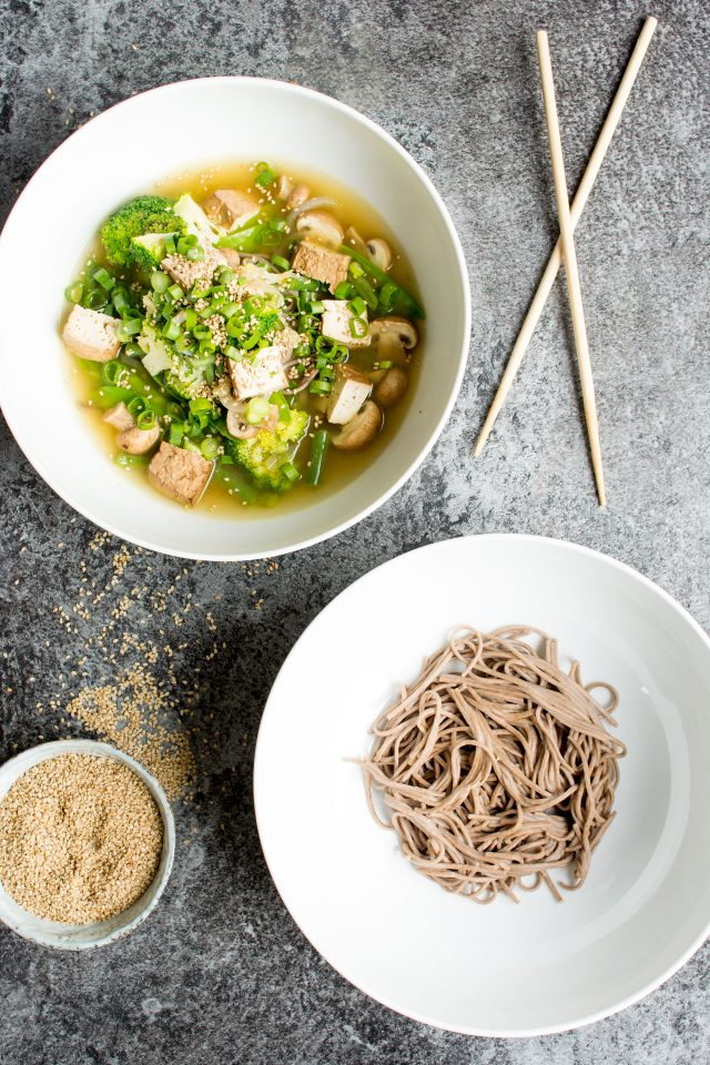 These Vegan Miso Soup Noodles really are a one pot wonder! They are bursting with flavour from the fresh ginger and miso, and chock full of fresh veggies. This healthy, super easy dinner will liven up any evening.