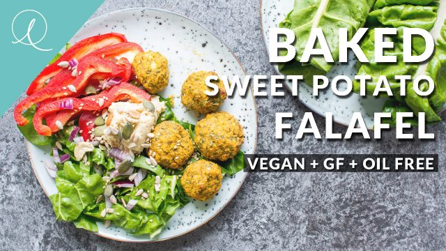 {Video!} This baked sweet potato falafel, which is vegan friendly, gluten free AND oil free, won't leave you disappointed up against your regular deep fried falafel cravings! This recipe packs all the flavour and none of the nasties, leaving you feeling full and nourished. Try out this super easy recipe for a great addition to a lunch this week!