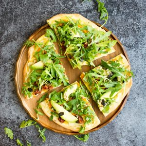 15 Minute Hummus Salad Pizza