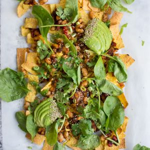 Loaded Vegan Nachos with Harissa Beans