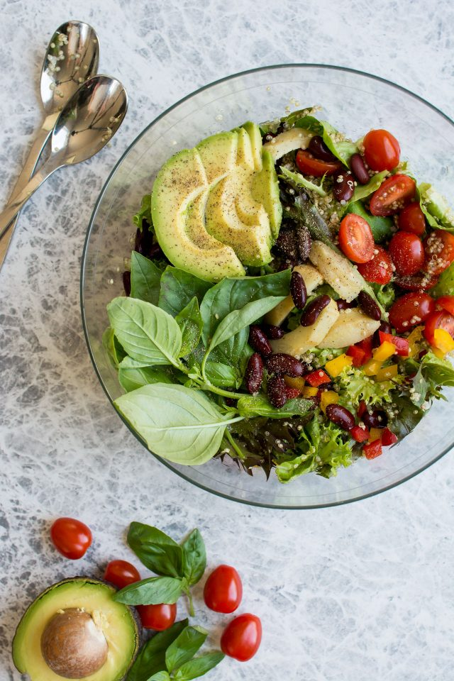 Quinoa, Kidney Bean and veggie loaded chopped salad is perfect for a quick lunch or dinner this summer!