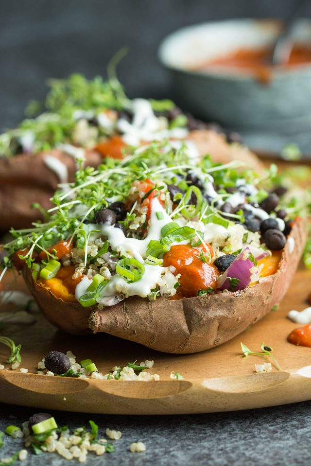 Loaded Sweet Potatoes With Quinoa Tabbouleh Lauren Caris Cooks