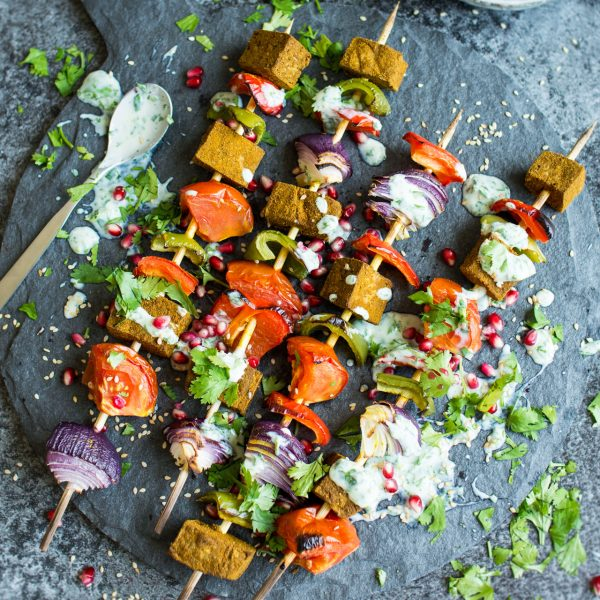 Vegan Grilled Tofu Kebobs with Vegan Herb Yoghurt Drizzle-4