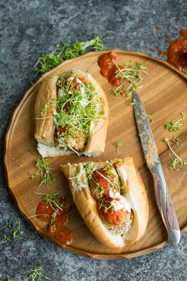 Vegan Meatball Sub. This delicious version uses mushrooms as a base for a hearty, satisfying sandwich that will curb all your cravings!