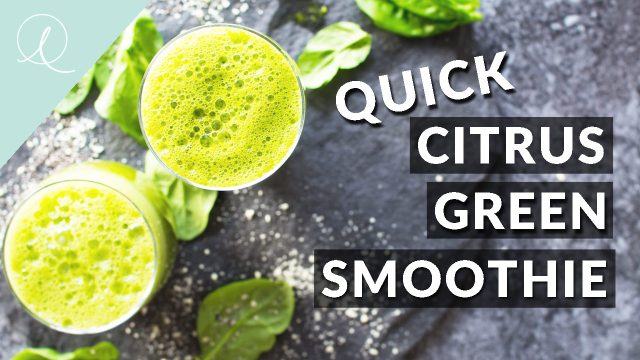 A quick, immune boosting green citrus smoothie. Perfect for taking on the go on a morning you're in a rush!