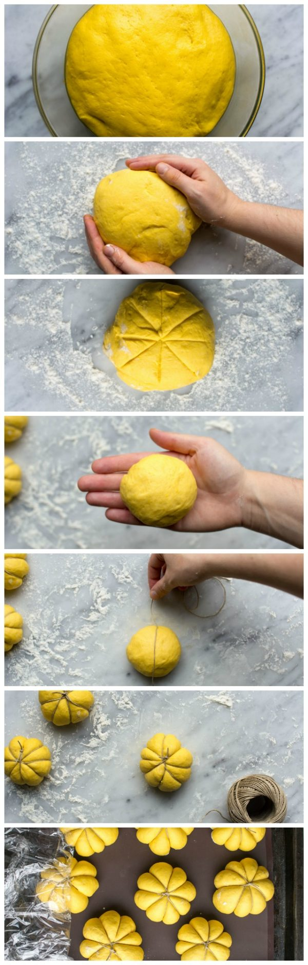 Once doubled, punch the excess air out of the dough and divide into 8 equal pieces. Roll each one into a ball and pinch the bottom together. Take a long piece of string and find the halfway point. Place the half way point on top of the ball and flip the whole thing over. Pull the two pieces of string together and cross them over to create a cross on the bottom of the ball. Flip it over again and do the same thing until the ball is divided into 8 equal pieces. Tie the string at the top and cut off any excess. See the pictures below for the process. Cover the 8 rolls with cling film and let rise again for 30 minutes. The dough will puff out around the string and make pumpkin shapes.