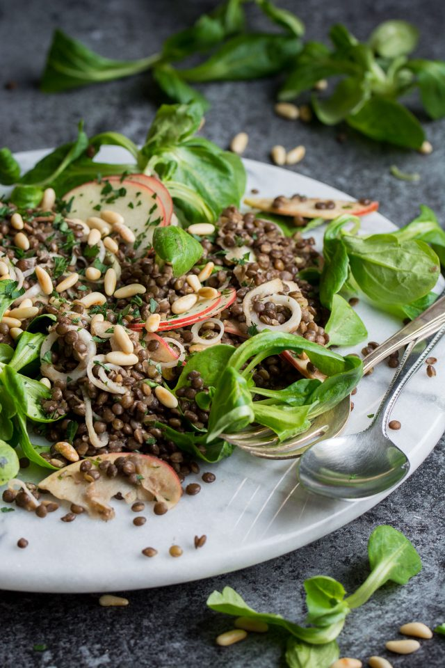 A delicious black lentil and apple salad, with a red wine vinaigrette and toasted pine nuts