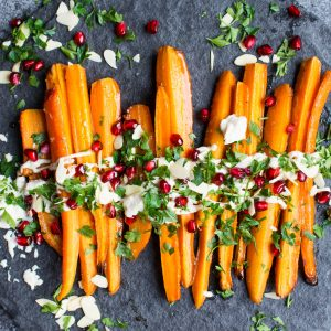 Vegan Christmas Dinner Side Dish – Maple Mustard Roasted Carrots with Roasted Garlic Cashew Cream