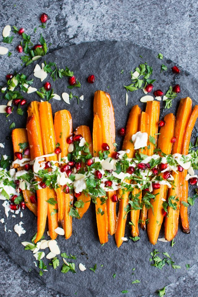 Vegan Maple Mustard Roasted Carrots with Roasted Garlic Cashew Cream