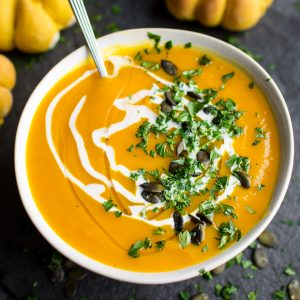 Pumpkin Sage Soup. A vibrant bowl of Autumnal colour and flavour. Make the most of pumpkin season with this herby bowl of sunshine!
