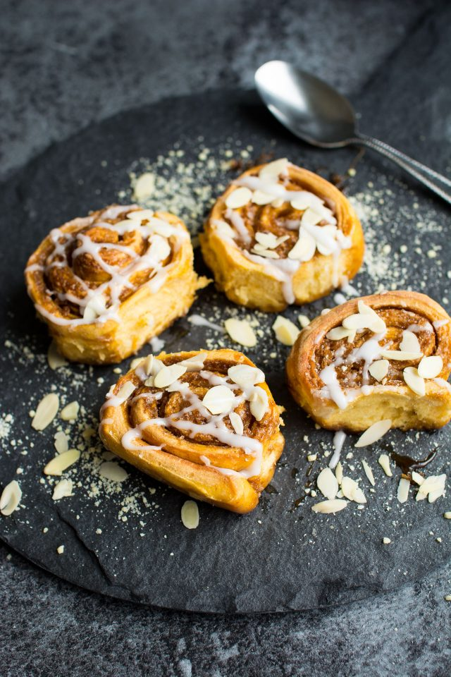 Vegan Sweet Potato Cinnamon Rolls. Soft, fluffy and sweet, these cinnamon rolls are perfect for a more indulgent breakfast!