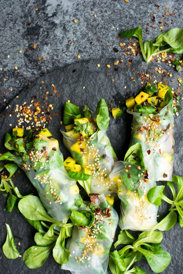 Vegan Winter Spring Rolls Two Ways! Crispy Baked Tofu with a zingy mango lime salsa!