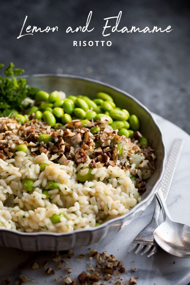 Lemon and Edamame Bean Risotto with Pecan Nuts, a fun twist on a classic dinner!
