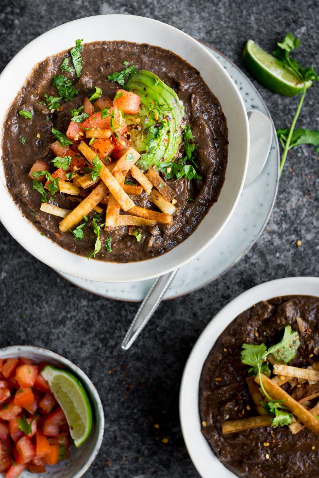 A thick, textured black bean soup that's slowly simmered to be PACKED full of flavour!