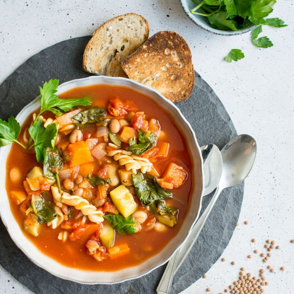 A warming, winter vegetable minestrone soup. Stuffed full of vegetables and pasta and beans