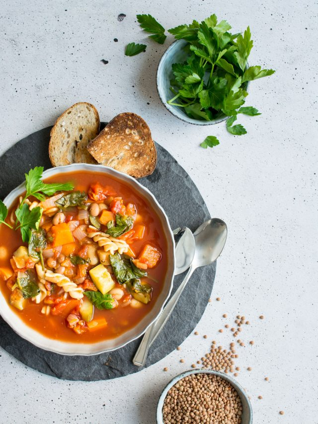 A warming, winter vegetable minestrone soup. Stuffed full of vegetables, pasta and beans