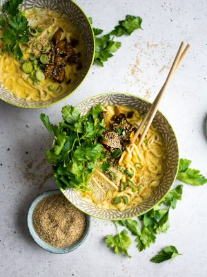 A rich, vegan, coconut curry ramen bowl, with marinated mushrooms and crispy tofu!