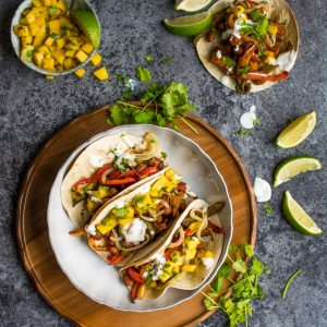 One Tray Tacos with Fresh Mango Salsa