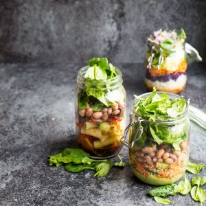 Quick, easy, on the go vegan salad jars are perfect for preparing ahead and grabbing on your way to work or school!