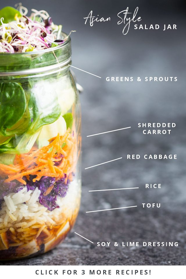 This Asian Style Quick, easy, on the go vegan salad jars are perfect for preparing ahead and grabbing on your way to work or school!