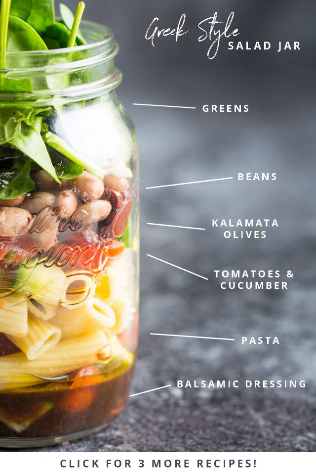 This Greek Style, Quick, easy, on the go vegan salad jars are perfect for preparing ahead and grabbing on your way to work or school!