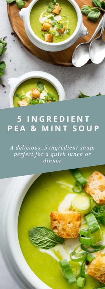 A quick, simple and vegan 5 ingredient pea and mint soup with a coconut cream swirl