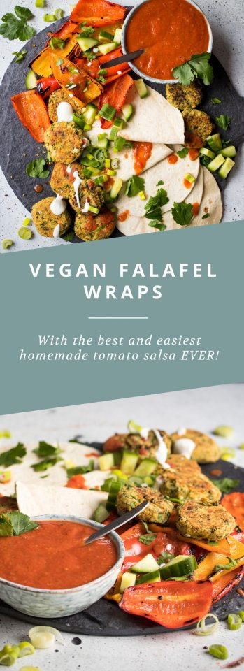 Vegan Falafel wraps with the best (and easiest!) salsa EVER!
