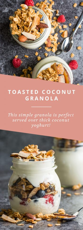 A simple toasted coconut granola that's perfect served over thick coconut yoghurt!