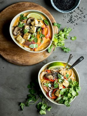 Vegan Lemongrass Coconut Noodle Soup. Absolutely packed full of flavour and texture!