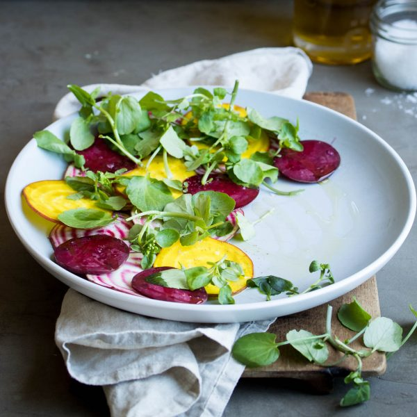 Vegan beet carpaccio, a simple summer dish that let's these beautiful ingredients shine