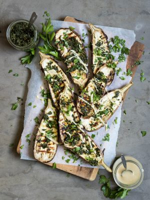Chargrilled Eggplant with Carrot Top Pesto and Tahini