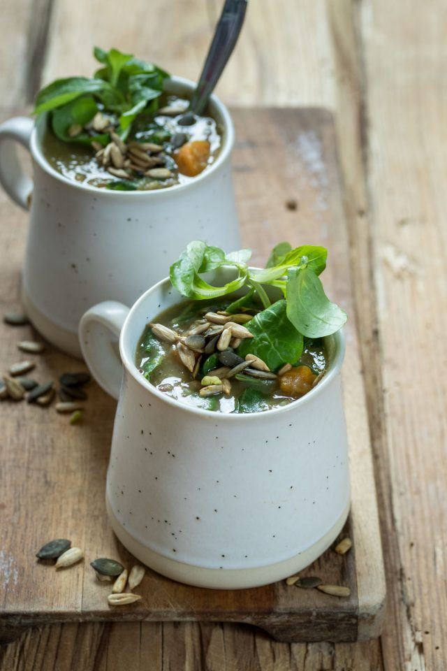 A delicious, healthy lentil, potato and greens soup, ready to prep your immune system for the colder weather