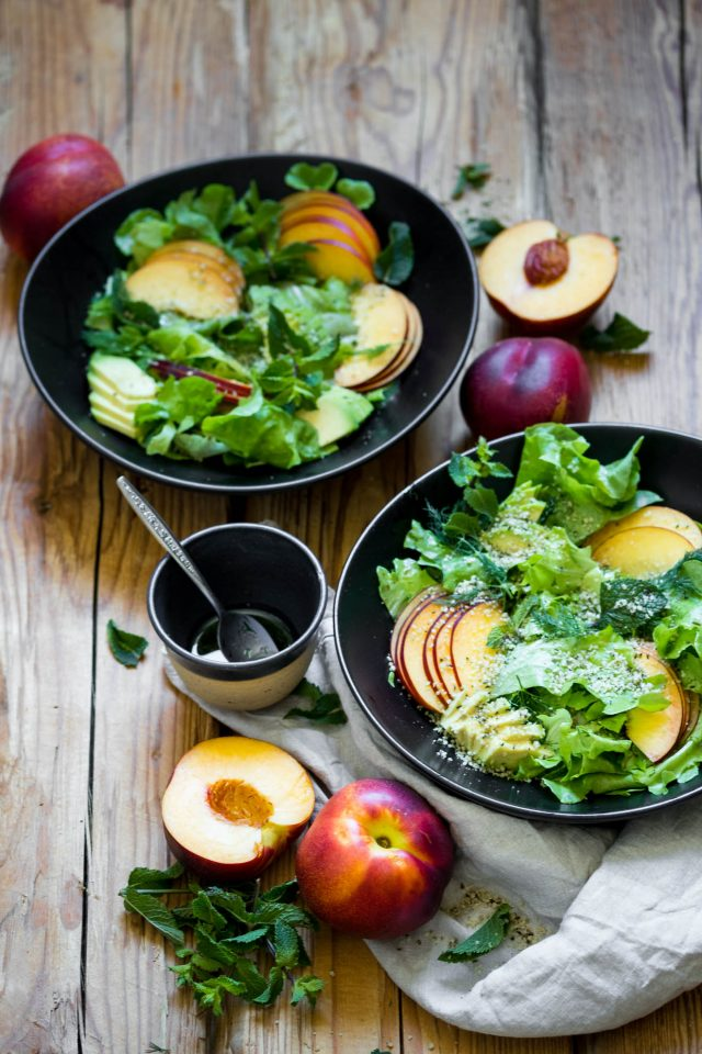 Summer Nectarine Salad with Dill Vinaigrette and avocado