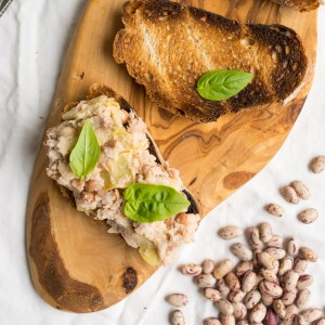 Super Quick Two Bean and Artichoke Toast