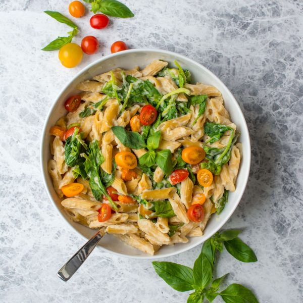 This delicious creamy vegan pasta sauce is made using cauliflower as a base. It's light, full of flavour and absolutely perfect for a lightened up pasta sauce!