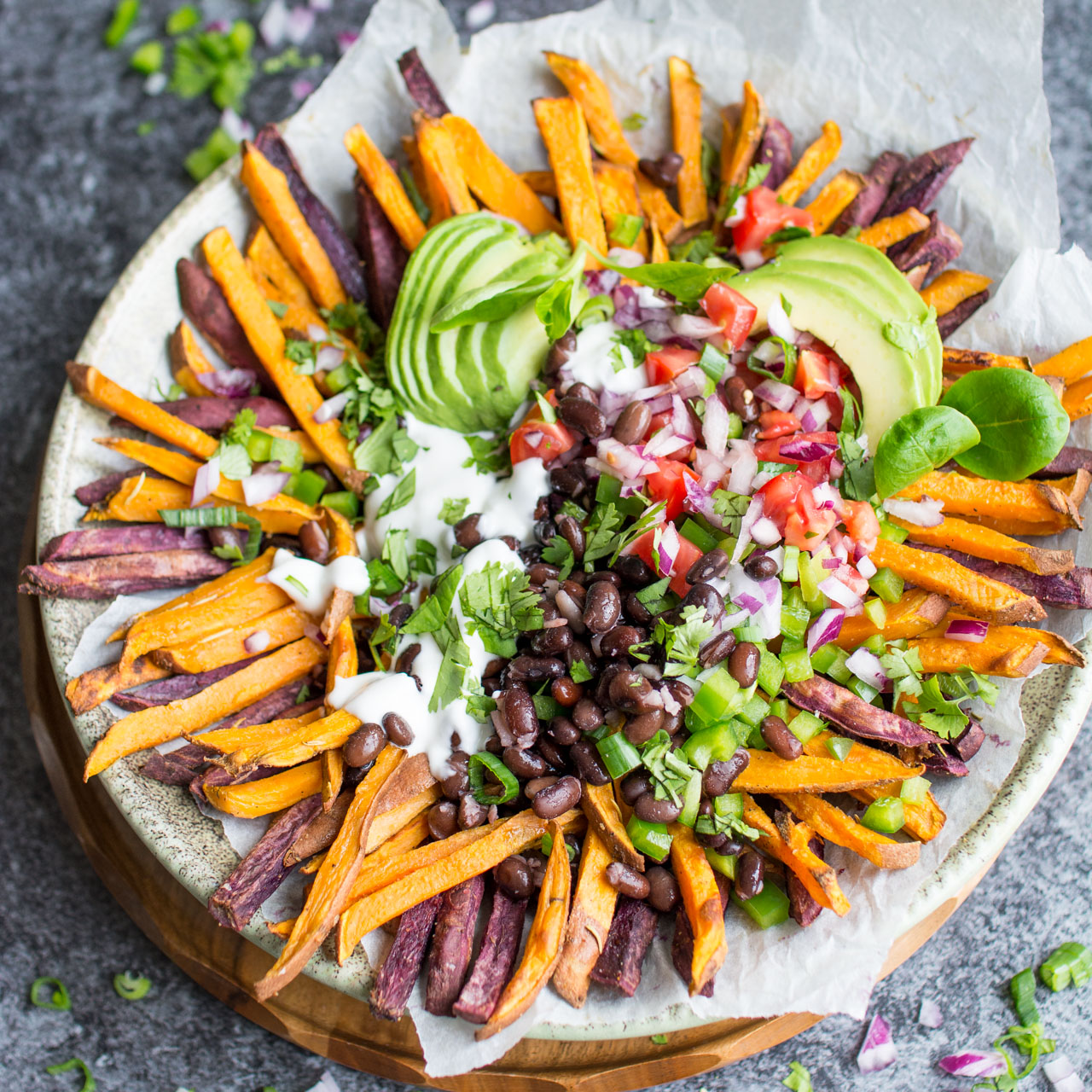 Mexican Style Loaded Baked Sweet Potato Fries With Vegan