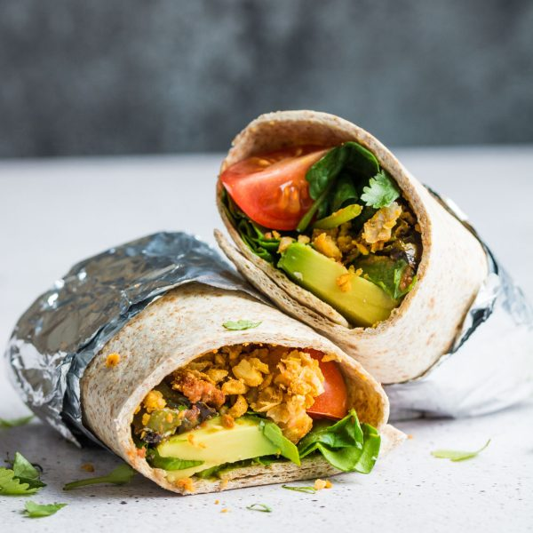 The ultimate vegan breakfast burrito. Stuffed full of breakfast goodness from scrambled chickpeas to fresh avocado, this really is the best way to start your day!