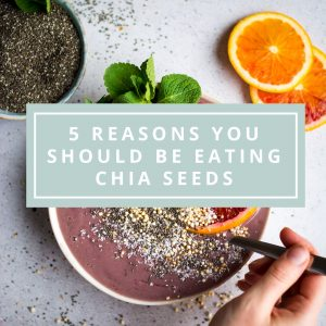 Chia seeds are a nutrient dense food that is easy to incorporate into your daily routine. It's packed with plant based protein and natural goodness. Here are the top 5 benefits of eating chia seeds, plus some easy ways to use them!