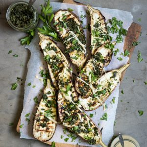 Chargrilled Eggplant with Carrot Top Pesto